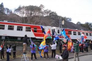 昨年の三陸鉄道の復旧・開通の風景