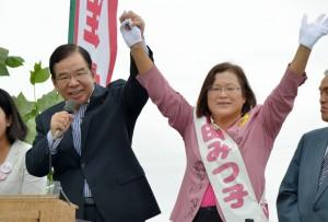 千田候補の支持を訴える志位委員長